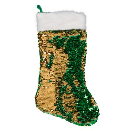 Green & Gold Reversible Sequin Stocking (Stockings Halloween)