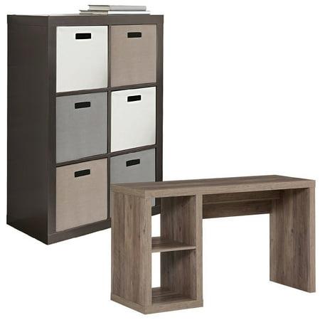 Desk and Cube Storage Organizer Set, Better Homes and Gardens 6 Cube Storage Organizer - Better Homes and Gardens Cube Storage Organizer Desk, Multiple Finishes