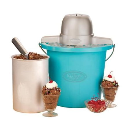 Blue Old Fashioned Ice Cream Maker Electric Motor Makes Churning (Best Way To Make Old Fashioned)