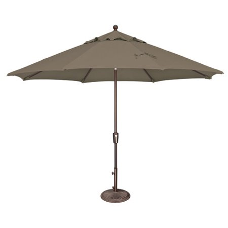 SimplyShade Catalina 11 Foot Octagon Push Button Tilt Patio Umbrella, Taupe