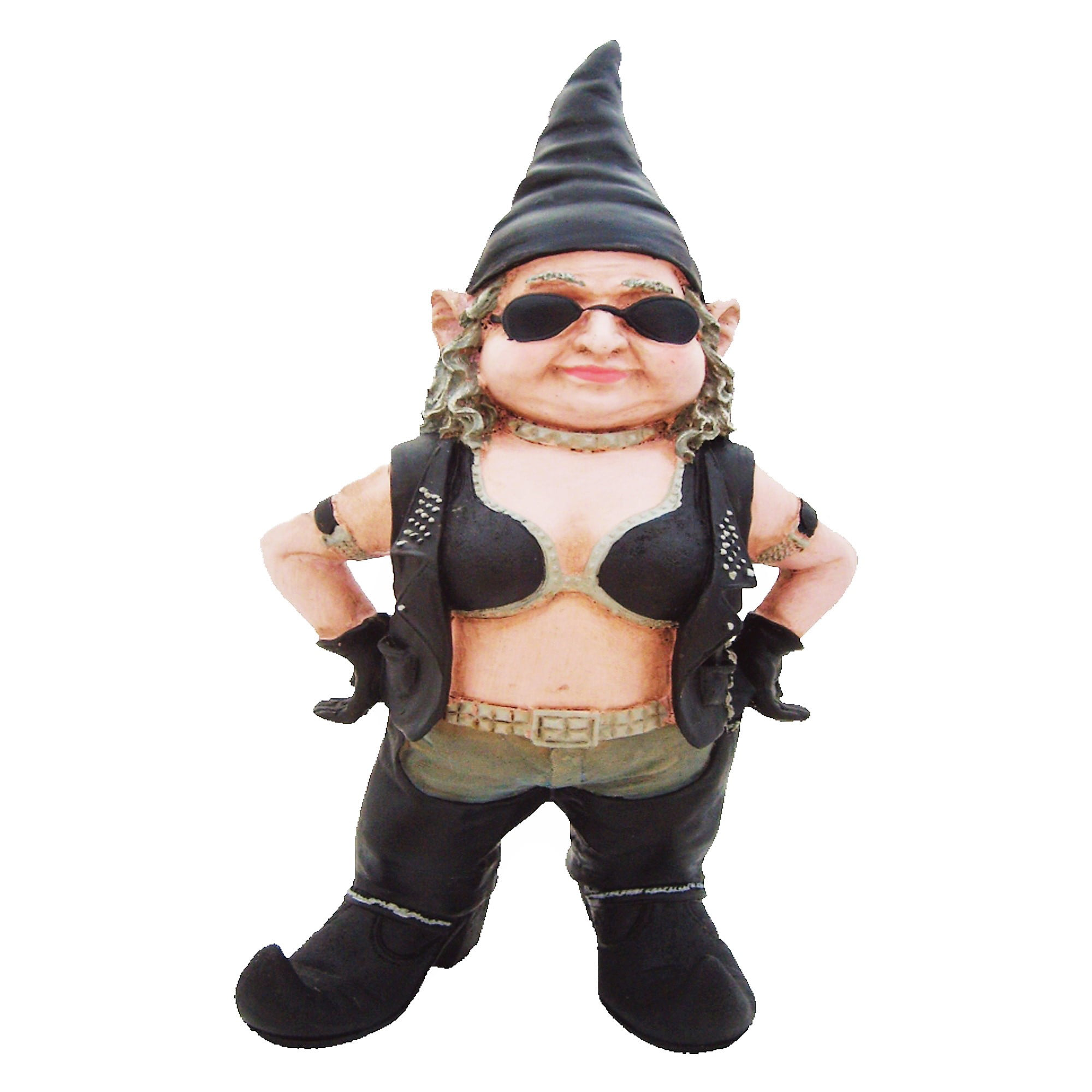 "Nowaday Gnomes ""Biker Babe"" the Biker Gnome in Leather Motorcycle Riding Gear... by GSI Homestyles"