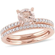 1 Carat T.G.W. Morganite with 5/8 Carat T.W. Diamond 14kt Rose Gold Bridal Set