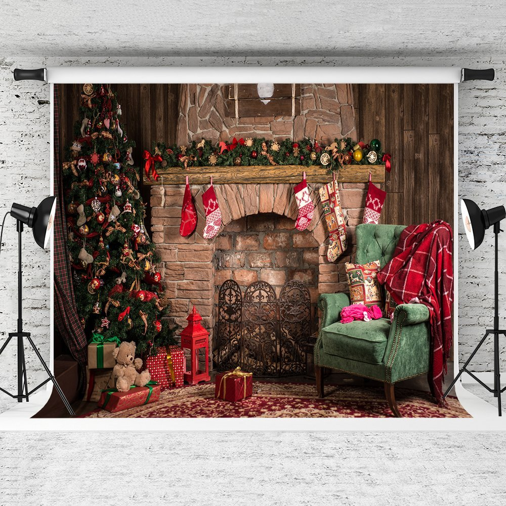 GreenDecor Polyester Fabric 7x5ft Christmas Photography Backdrop Retro Brick Wall Background Xmas Tree and Vintage Sofa for Party Photo Studio Backdrops