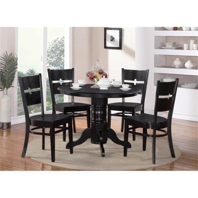 Wooden Imports Furniture SR5-BLK-W 5 Piece Shelton Round Table and 4 Rockville Chairs in Black Finish