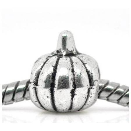 Happy Halloween Pumpkin Charm Bead. Fits Troll, Zable, Baigi, Chamilia Charm Bracelets. (Halloween Loom Charms)