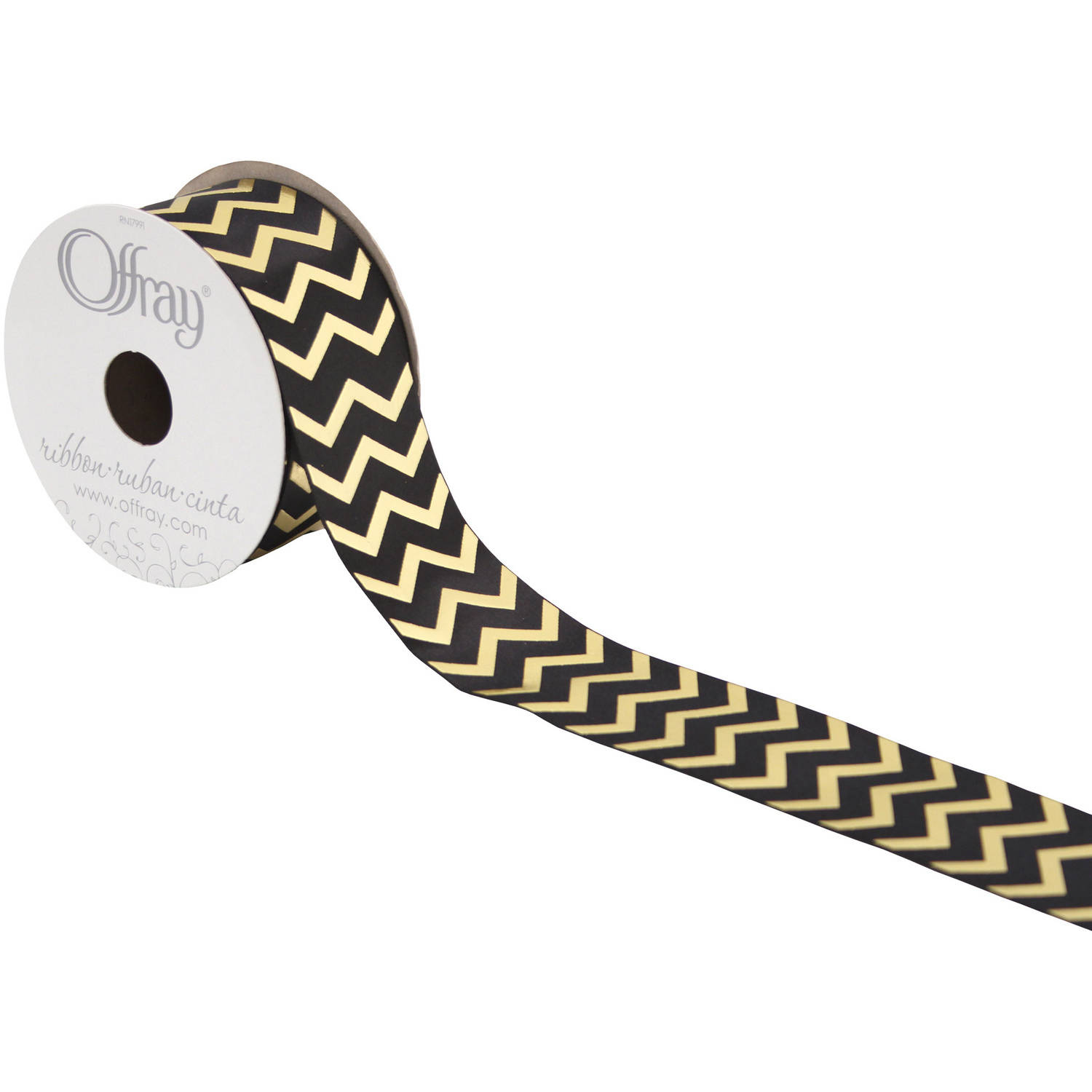 "Offray Ribbon, Large Chevron, 1 1/2"", Gold, 9'"