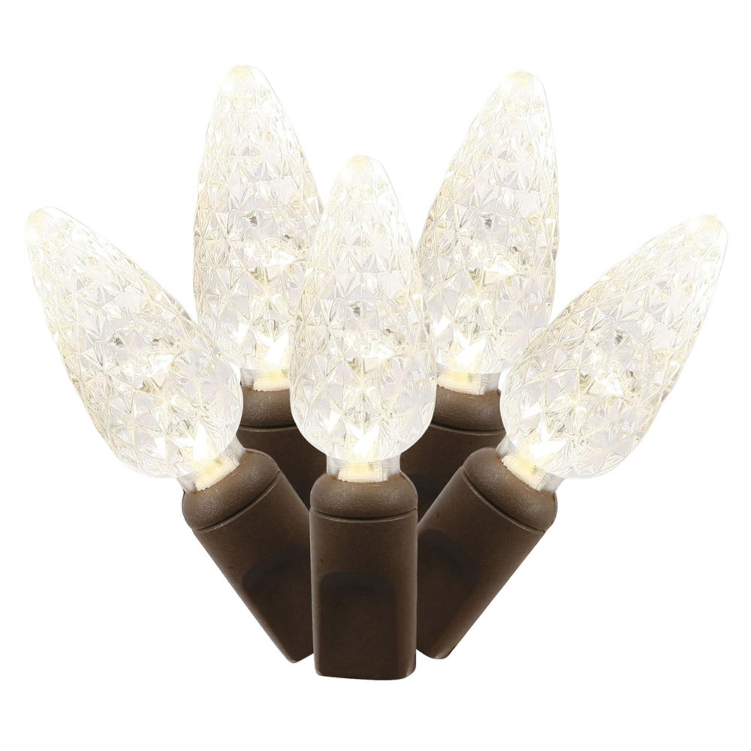 Set of 50 Warm White Commercial Grade LED C6 Christmas Lights - Brown Wire