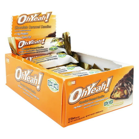 Oh Yeah! Chocolate Caramel Candies Protein Bars, 1.59 oz, 12 count for $<!---->