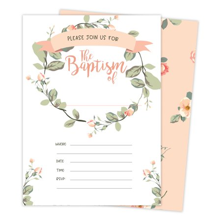Baptism #7 Invitations Invite Cards (25 Count) With Envelopes & Seal Stickers Vinyl Baby Boy Girl