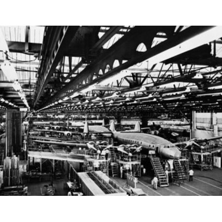 Interiors of an airplane factory Lockheed Constellation Lockheed Corporation Burbank California USA Poster Print (8 x 10)