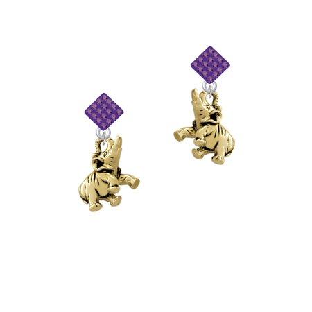 Gold Tone 3-D Elephant Purple Crystal Diamond-Shape Earrings Gold Tone Purple Crystal