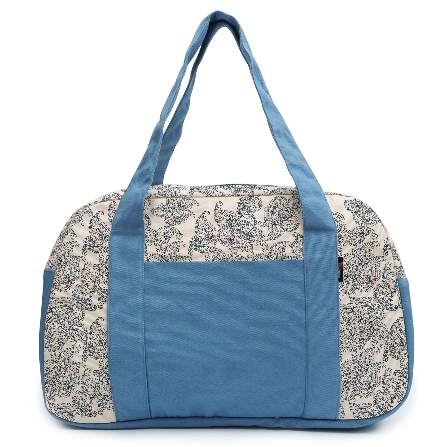 Women's Floral Seamless Pattern Beige Printed Canvas Duffel Travel Bags WAS_19 by Vietsbay