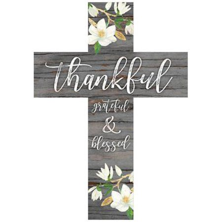 THANKFUL GRATEFUL & BLESSED Wooden Wall Cross, 8.5