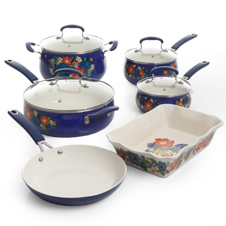 The Pioneer Woman Floral Pattern Ceramic Nonstick 10-Piece Cookware Set Now $99 (Was $149)