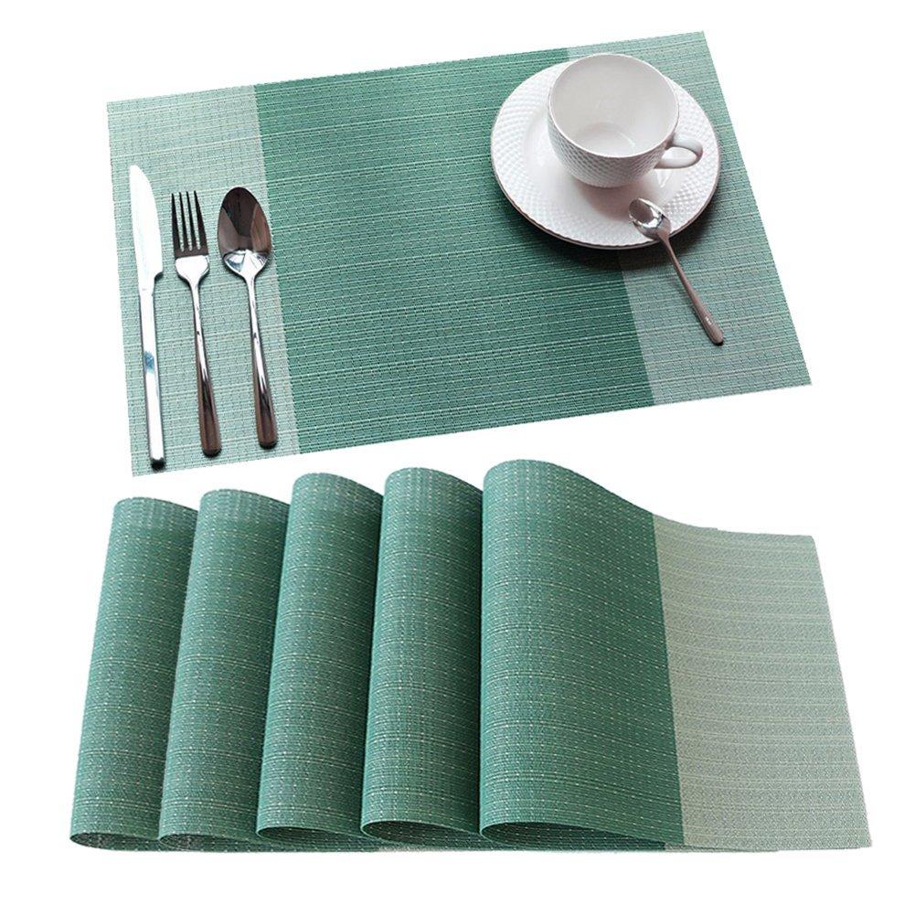Vinyl Place Mats For Kitchen Table, Woven Placemats Heat Resistant Table  Mats (6,