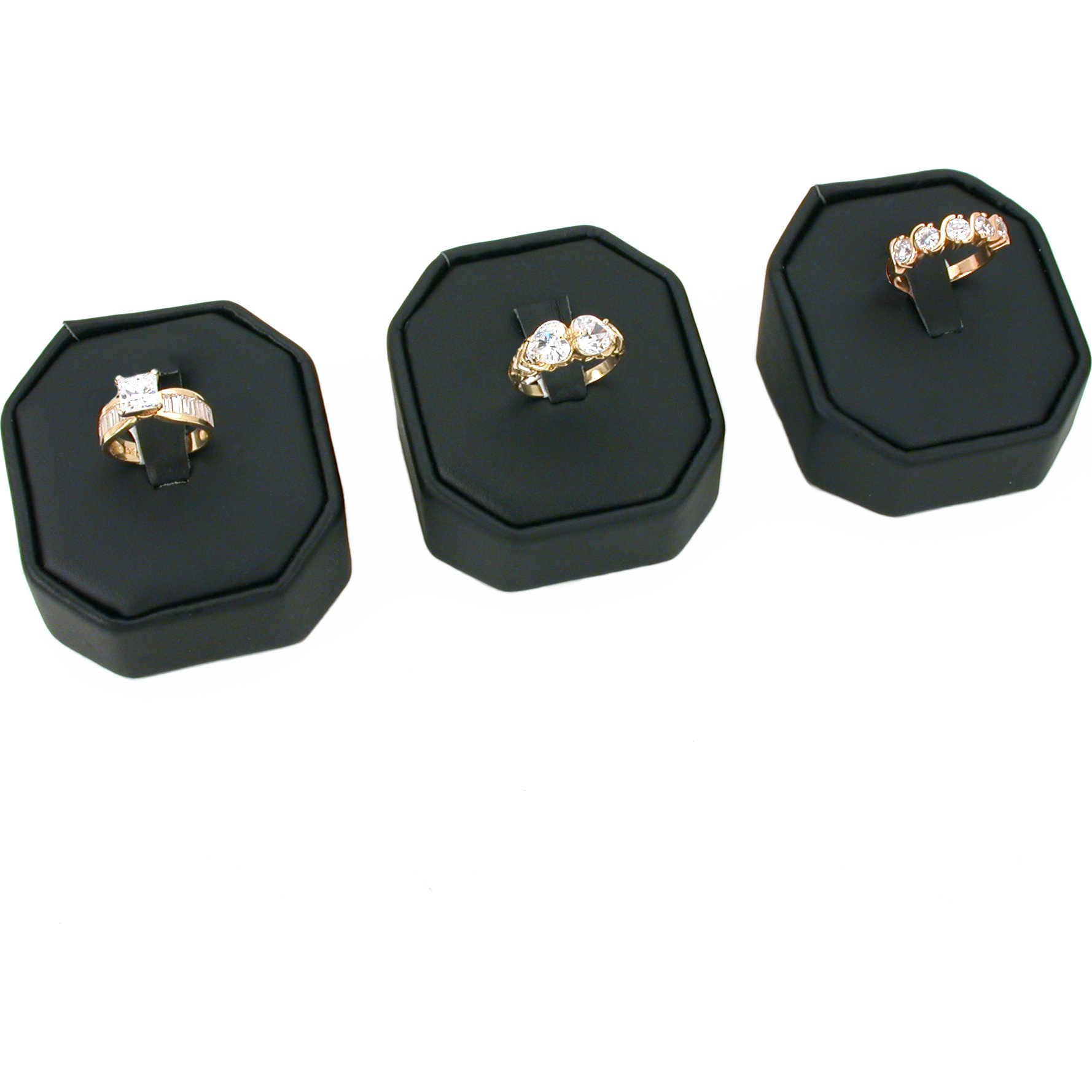3 Black Velvet Clip Ring Display Stand Jewelry Showcase by