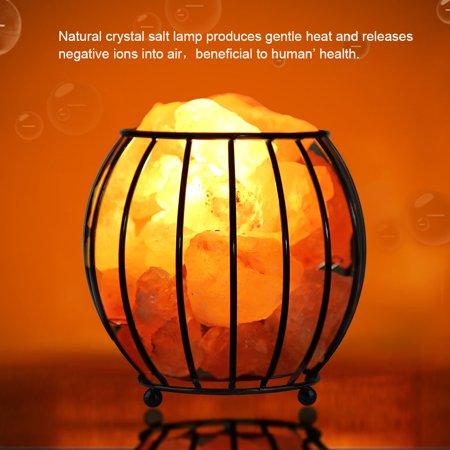 Tbest Iron Frame Natural Crystal Salt Rock Lamp Air Purifier Home Room Night Light Decor, Salt Rock Lamp, Salt Lamp