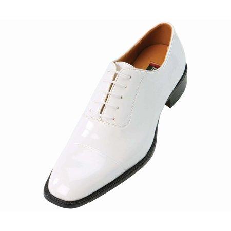 Amali Mens White Classic Patent Cap-Toe Tuxedo Oxford Dress Shoe: Style 2825 White