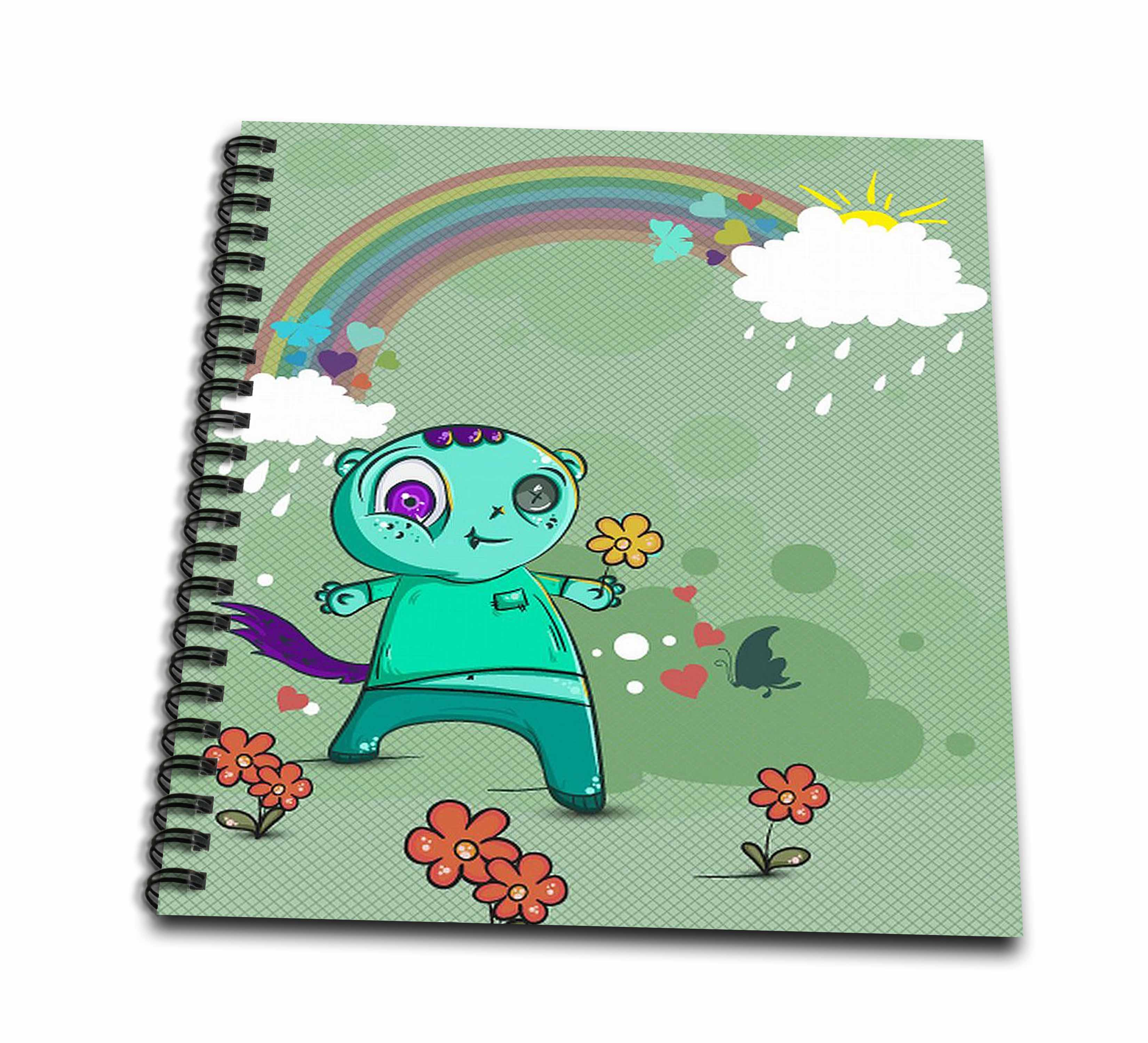 3dRose Cute Light Green Monster With A Rainbow For Kids - Drawing Book, 8 by 8-inch