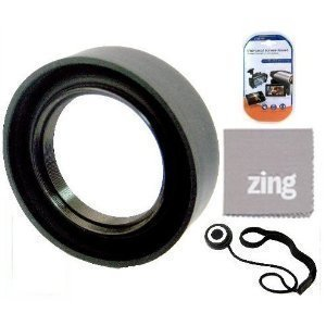 77mm Soft Rubber Lens Hood For Sony 135mm f/1.8 Carl Zeiss Autofocus SLR Lens + Cap Keeper + MicroFiber Cleaning Cloth + LCD Screen Protectors ()