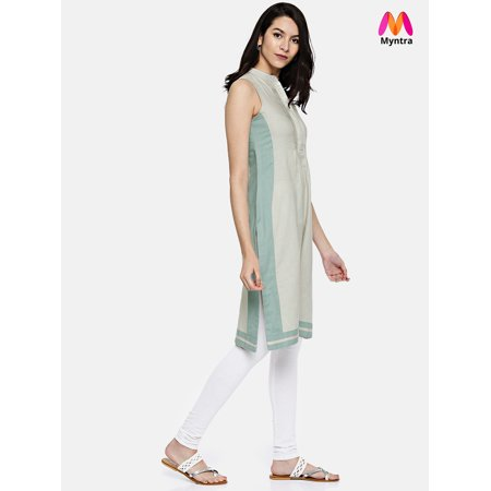 all about you from Deepika Padukone Women Grey Solid Straight Kurta - image 4 of 4