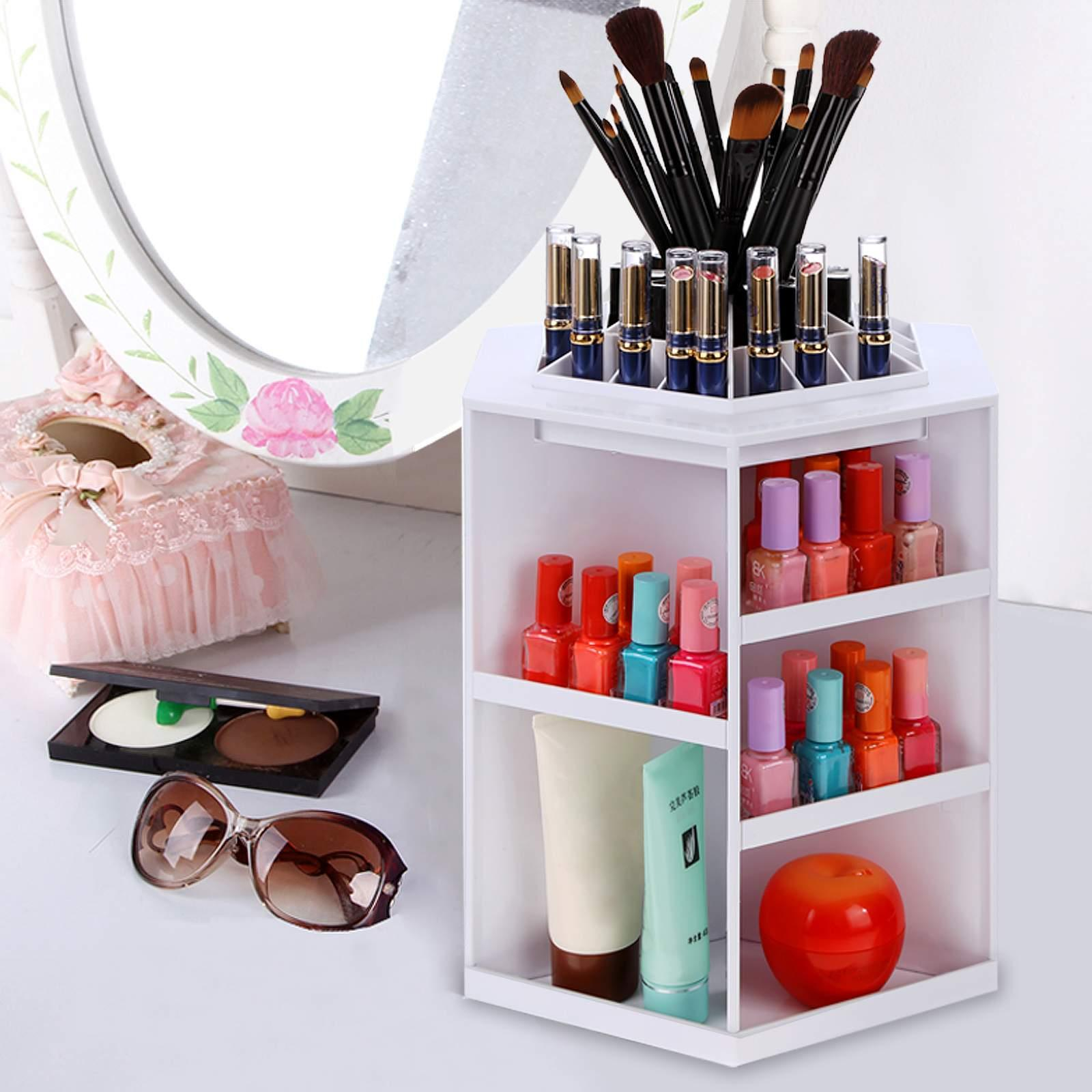Homdox Plastic 360 Degree Rotating Makeup Organizer Cosmetic Organizer Box