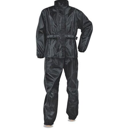 Milwaukee Leather Men's Black Rain Suit Oxford Nylon Lightweight & Water Resistant  Black ()