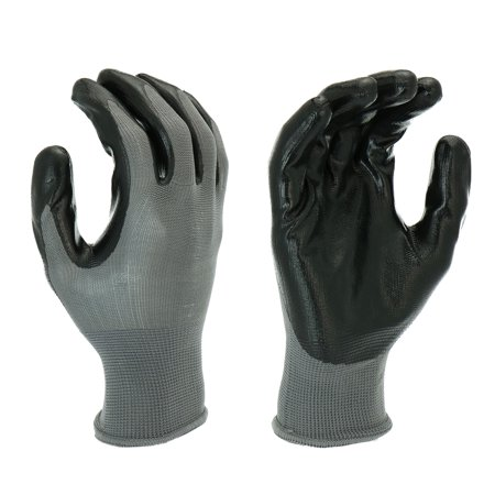Hyper Tough Multipurpose Nitrile-Grip Gloves, Medium Duty, 3 Pair, Large, - Pro Grip Leather Gloves