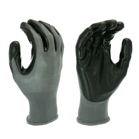 Hyper Tough Multipurpose Nitrile-Grip Gloves, Medium Duty, 3 Pair, Large, Black
