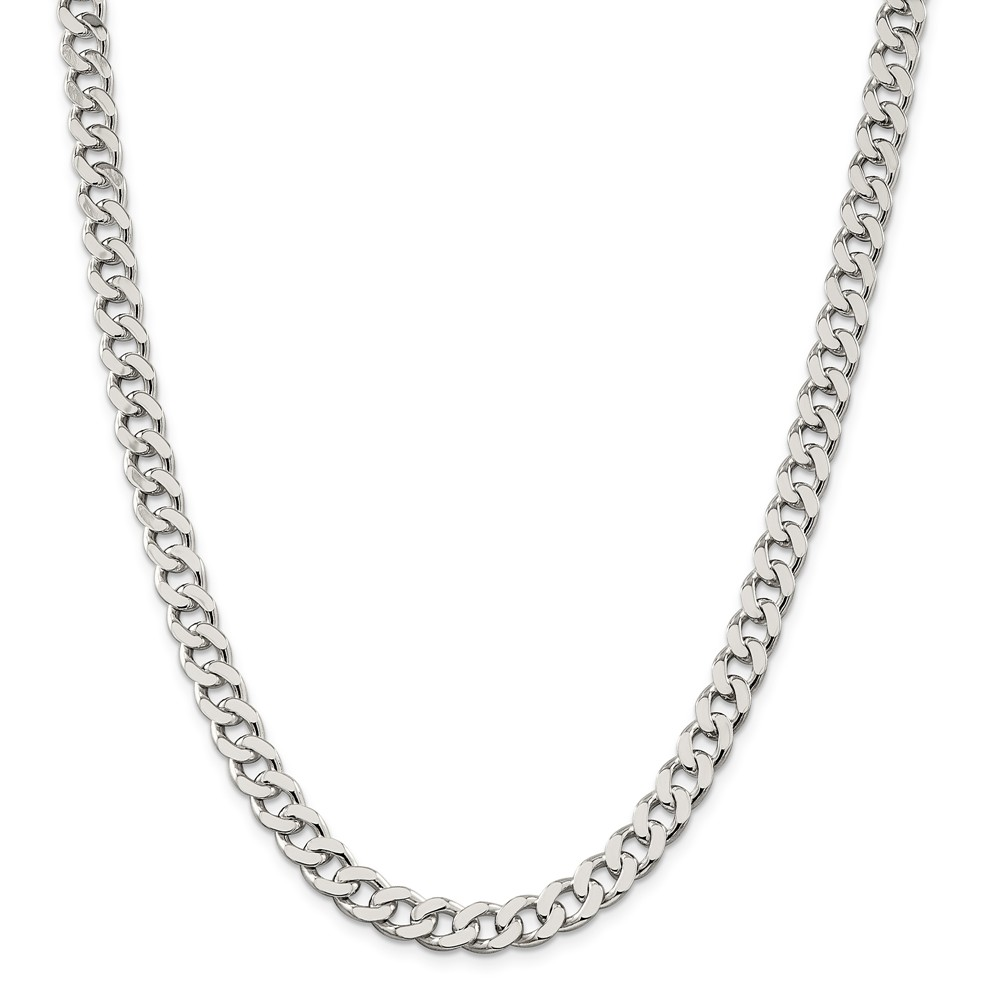 Sterling Silver 22in 8mm Curb Necklace Chain