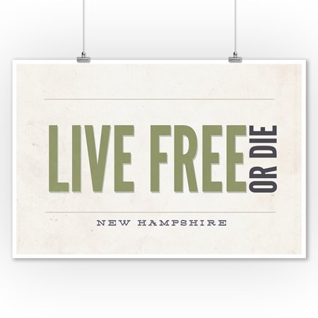 - New Hampshire - Live Free or Die (Tan) (9x12 Art Print, Wall Decor Travel Poster)