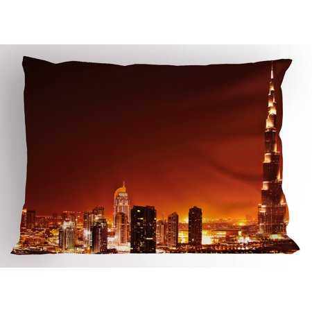 Landscape Pillow Sham Arabic Dubai Downtown with Cityscape Skyscrapers Sunset Middle East City Photo, Decorative Standard King Size Printed Pillowcase, 36 X 20 Inches, Multicolor, by Ambesonne