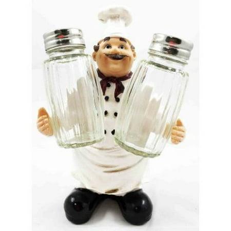 Fat Bistro Chef Hugging Seasons and Spice Salt Pepper Shaker Holder Figurine Stand Pepper Shaker Holder