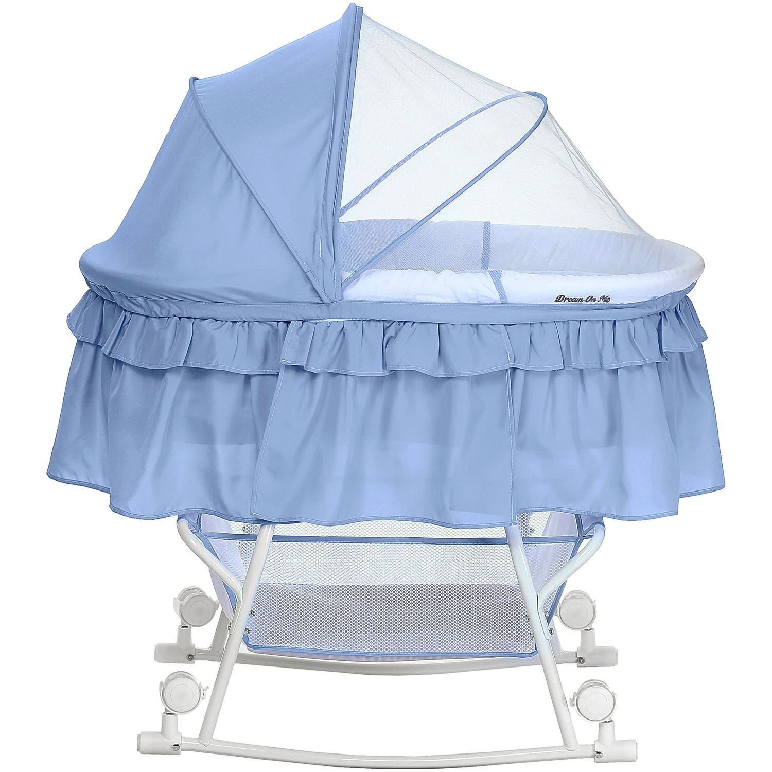 Dream On Me Lacy Portable 2 In 1 Bassinet And Cradle, Blue/White    Walmart.com