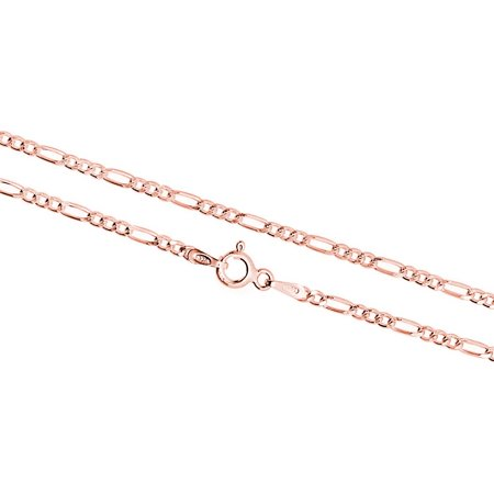 Rose Gold Plated Sterling Silver 2.2mm 6 Gauge Italian Figaro Chain 7