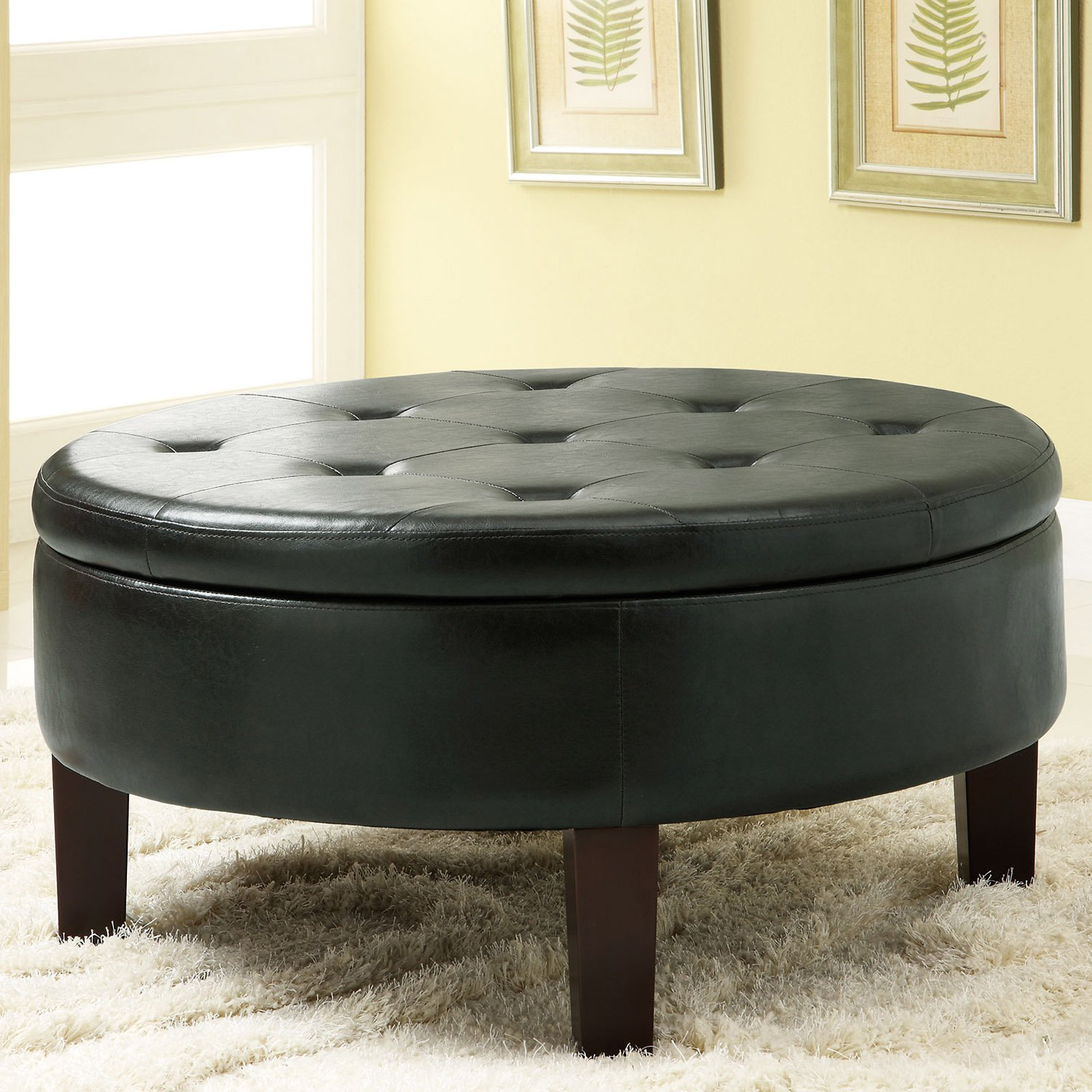 Coaster Company Round Storage Ottoman, Dark Brown Leatherette
