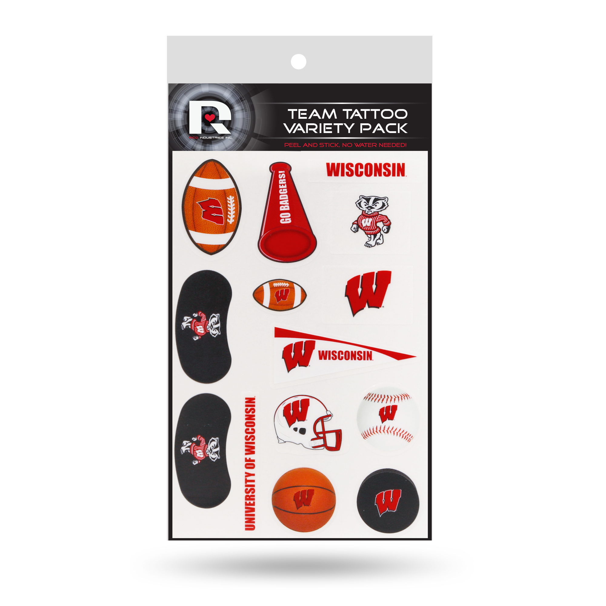Wisconsin Badgers Tattoo Variety Pack