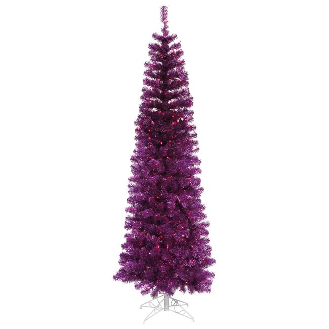 Purple Pencil Dura-Lit Christmas Tree with Purple LED Lights, 7.5 ft. x 34 in.