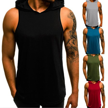 Men's Slim Fit Sleeveless Shirts Hooded Tops Muscle Hoodie Casual Vest
