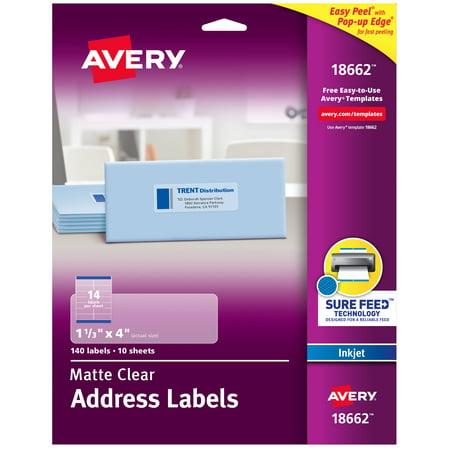"Avery Matte Clear Address Labels, Sure Feed Technology, Inkjet, 1-1/3"" x 4"", 140 Labels (18662)"