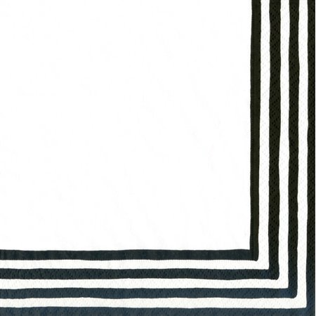 Stripe Border Paper Cocktail Napkins (Box of 40), Black/White, Entertaining with Caspari Stripe Border Paper Cocktail Napkins, Black and White, Box of 40 By Entertaining with -
