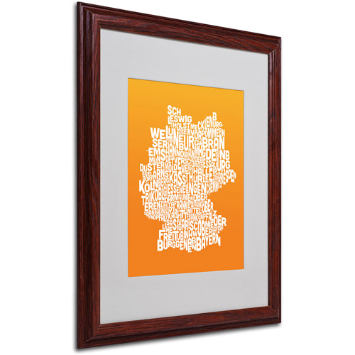 "Trademark Fine Art ""ORANGE-Germany Regions Map"" Matted Framed by Michael Tompsett"