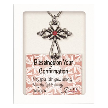 Silver-tone Red Crystal Confirmation Cross 18in Necklace (18x1mm)