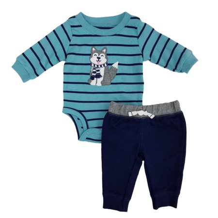 Carters Infant Boys 2-Piece Husky Puppy Dog Long Sleeve Bodysuit & Pants Set