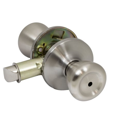 (Pro-Grade Classic Mobile Home Privacy Door Knob Bed and Bath Handle, Satin Nickel)