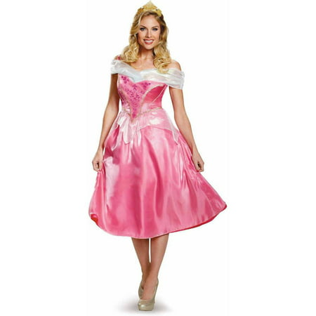 Disney Princess Aurora Deluxe Women's Adult Halloween Costume](Adult Princess Tiana Costume)