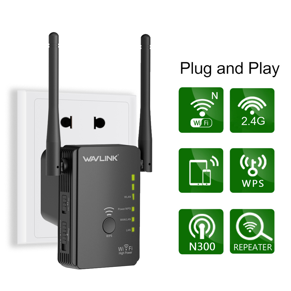 Wavlink N300 WiFi Range Extender/ Access Point / Wireless Router Wi-Fi signal amplifier Booster With 2 High Gain External Antennas - Black