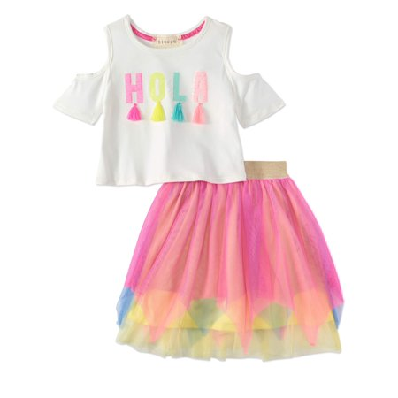 Hola Tassel Cold Shoulder Tee and Mesh Skirt, 2-Piece Outfit Set (Little Girls & Big - Pebbles Outfit