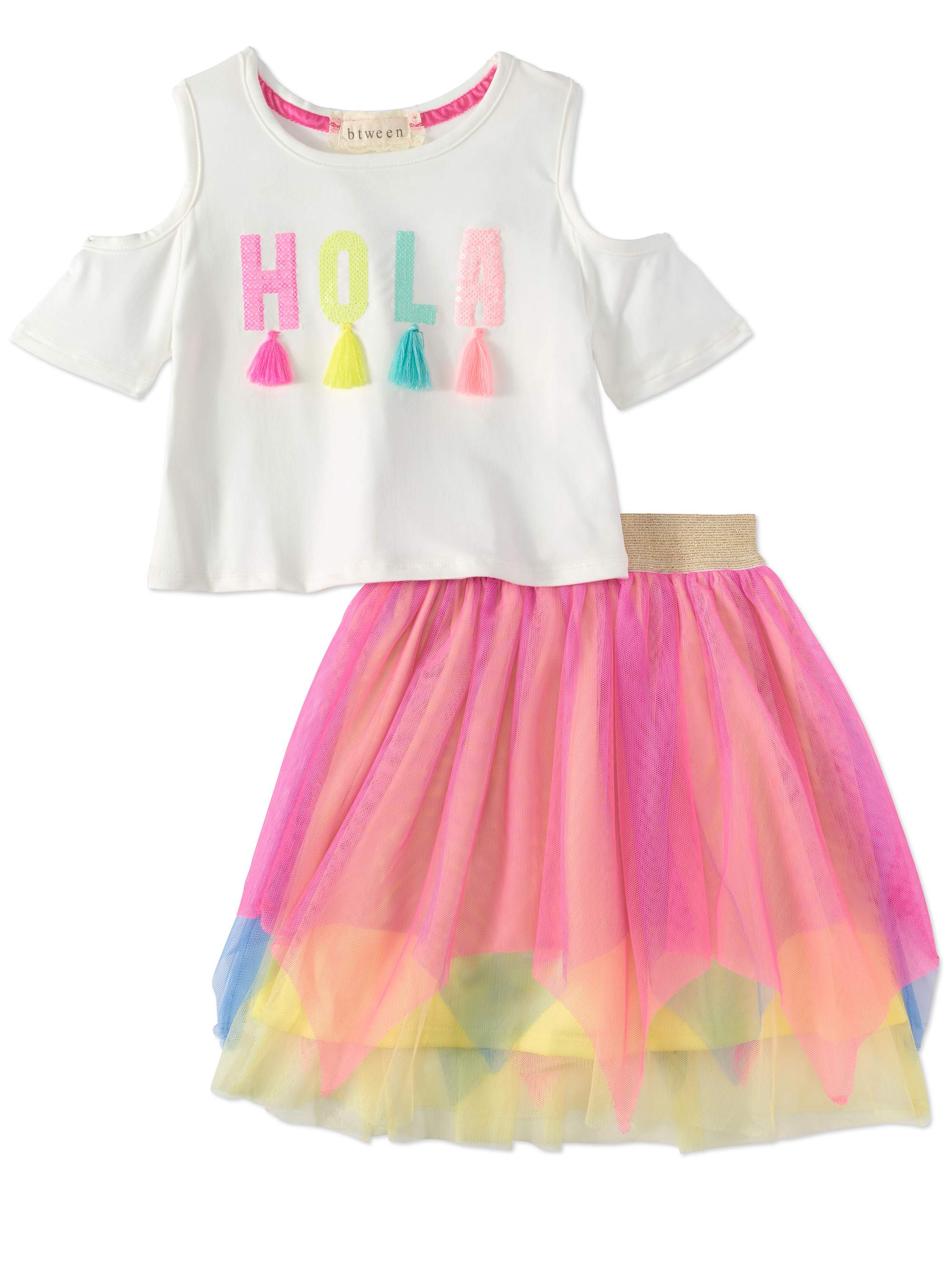 Hola Tassel Cold Shoulder Tee and Mesh Skirt, 2-Piece Outfit Set (Little Girls & Big Girls)
