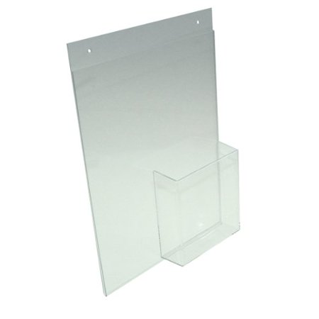 """Sign Holder Combination Frame with Holes for 8.5x11 Sign and 4x9 Brochures Lot of 5, 8.5""""w x 11""""h Vertical Wall Frame with Tri-Fold Pocket.., By Marketing Holders Ship from US"""